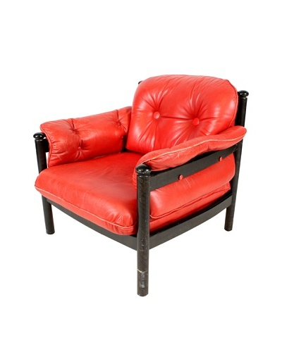 Swedish Modern Armchair, Red/Black