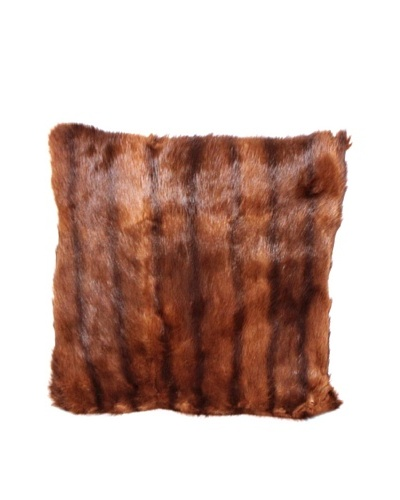 Upcycled Mink Pillow, Tan/Black/Brown, 18 x 18