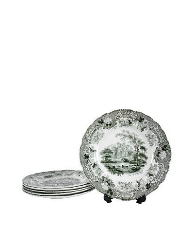 Set of 5 Verona Transferware Plates, Green/Cream
