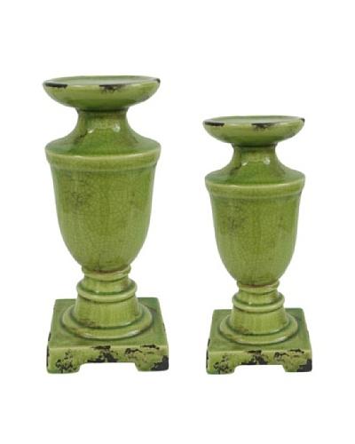 Rustic Glazed Candleholder Set