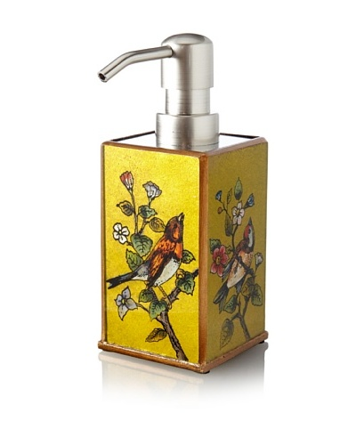 Reverse-Painted Glass Liquid Soap Dispenser, Green/Yellow