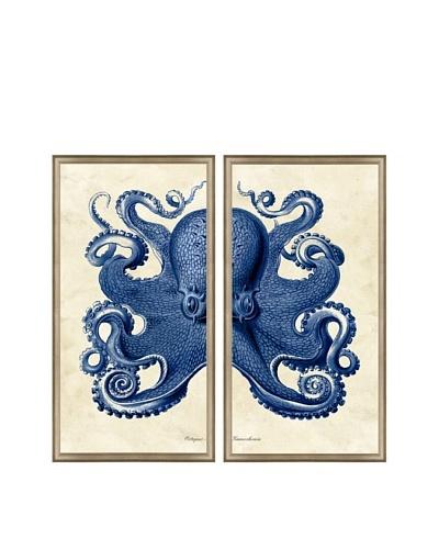 Navy Octopus Diptych Framed Giclée Print