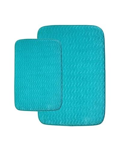 Memory Foam Bath Mat Set, Aqua