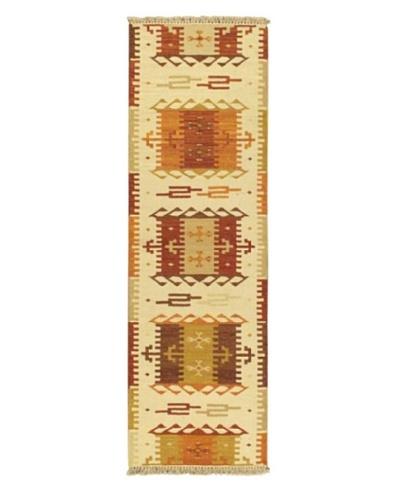 "Hand woven Kashkoli Kilim Casual Runner Wool Kilim, Cream, 2' x 6' 7"" Runner"