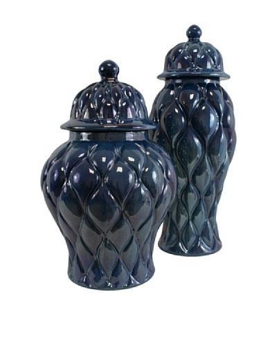 Set of 2 Saphire Jars, Dark Blue