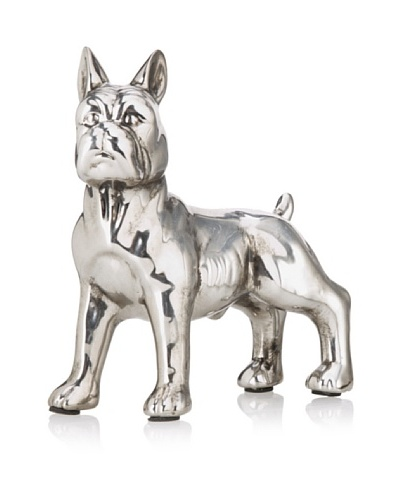 Electroplated French Bulldog, Antique Silver