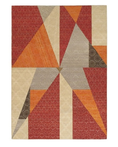 "Collage Transitional Dhurrie, Dark Red/Khaki, 5' 5"" x 7' 9"""