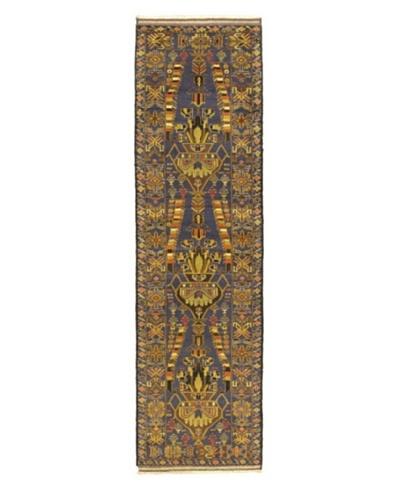 "Hand-knotted Rizbaft Traditional Runner Wool Rug, Navy, 2' 5"" x 8' 8"" Runner"