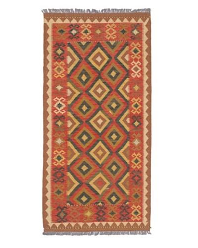Hand woven Izmir Kilim Traditional Rectangular Wool Kilim, Copper/Light Gold, 3' 3 x 6' 9 Runner