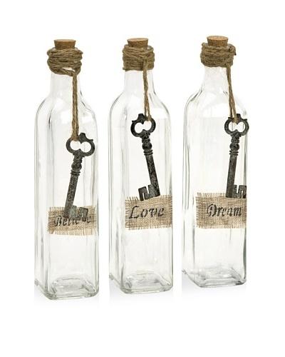 Set of 3 Magdaline Inspirational Glass Bottles