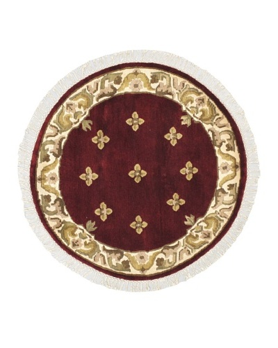 Hand-Knotted Karma Wool Rug, Dark Red, 3' 5 Round