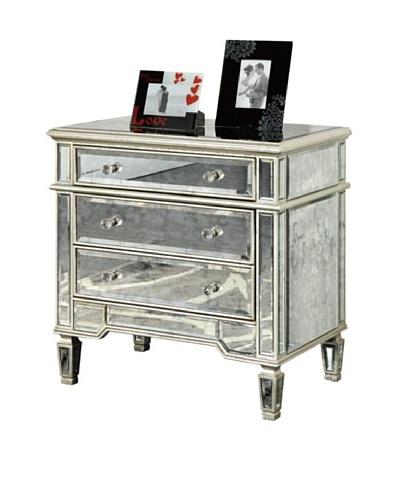 Florentine 3-Drawer Cabinet, Silver Leaf/Antique Mirror