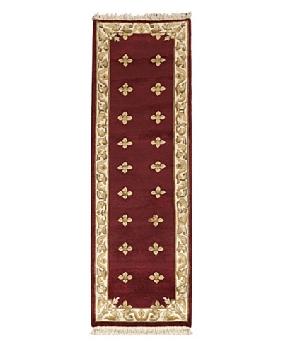 Hand-Knotted Karma Wool Rug, Dark Red, 2' 6 x 7' 6 Runner