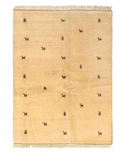 Hand-Knotted Indian Gabbeh Wool Rug, Light Camel, 4' 1 x 6' 5