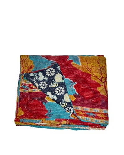 Vintage Lavanya Kantha Throw, Multi, 60 x 90