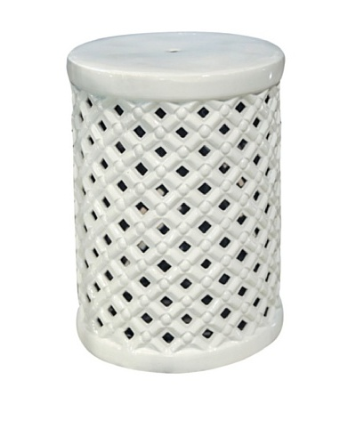 Ceramic Basket Weave Garden Stool