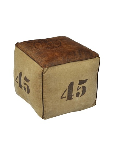 45 Canvas Pouf, Natural/Brown