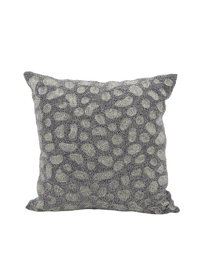 Joseph Abboud Beaded Stones Pillow, Grey/Silver, 16 x 16