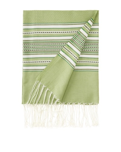 "Aztec Fouta Towel, Green, 39"" x 79"""