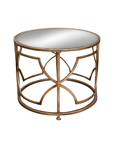 Iron Geo Accent Table, Antique Gold