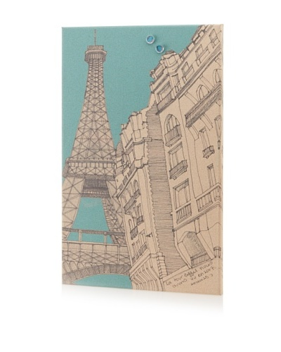 Sunjin Paris in Blue Giclee on Cork Board