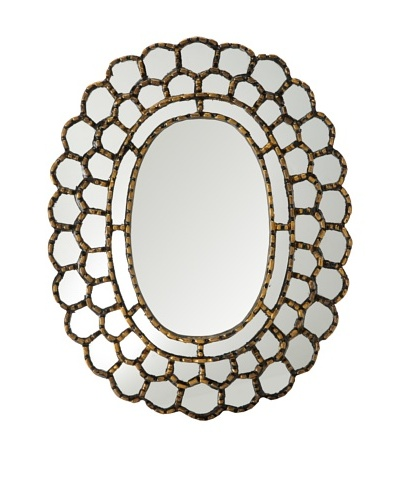 Reverse-Painted Glass Oval Mirror, Gold Trimmed