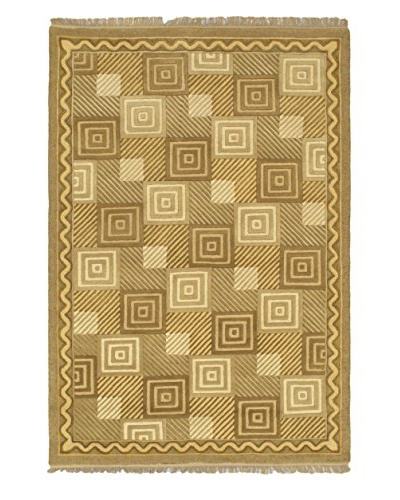 Handmade Abstract Art Rug, Khaki/Light Gold, 5' 6 x 8'