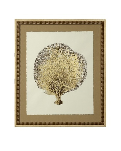 Gold Leaf Sea Fan Print with Rustic Beaded Wood Frame, Gold/Cream, 26 x 22