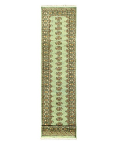 Hand-knotted Finest Peshawar Bokhara Traditional Runner Wool Rug, Teal, 2' 7 x 12' Runner