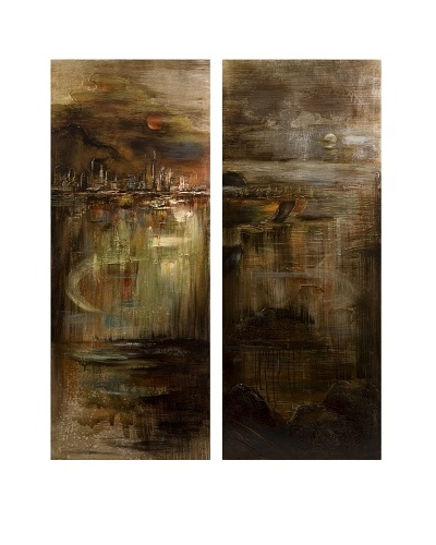 Set of 2 CKI Monet City at Midnight Paintings