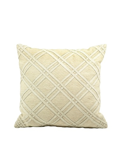 Joseph Abboud Diamond Caning Pillow, Ivory, 20 x 20