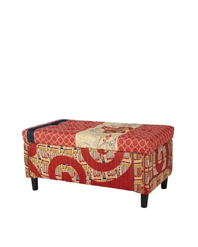 One of a Kind Kantha Storage Bench, Red MultiAs You See