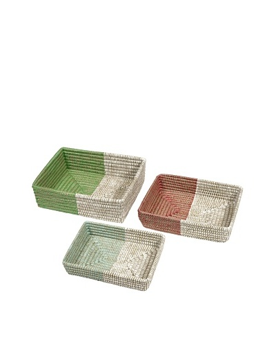 Set of 3 Assorted Harvey Two-Tone Woven Trays