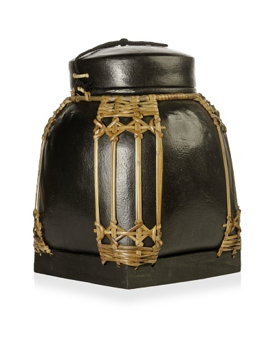 Decorative Bamboo Storage Container, Black, Small