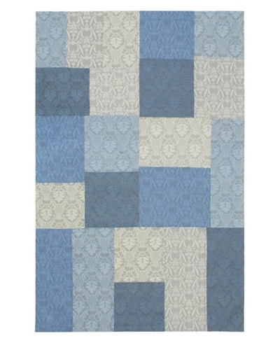 Handmade Collage Rug, Light Blue/Pale Dull Blue, 5' x 8'