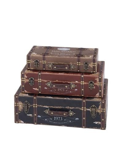 Set of 3 Wooden Trunks