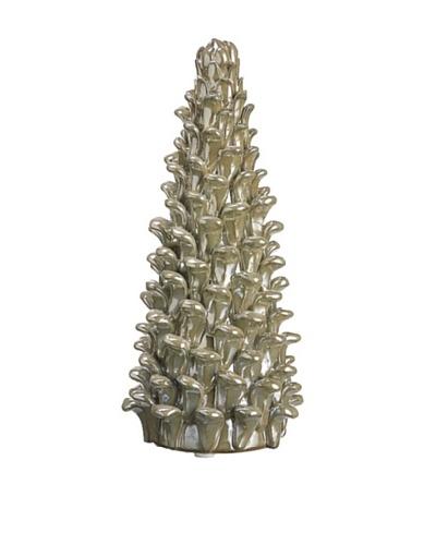"8"" Pine Cone Ceramic Tree, Ivory/ Gold"