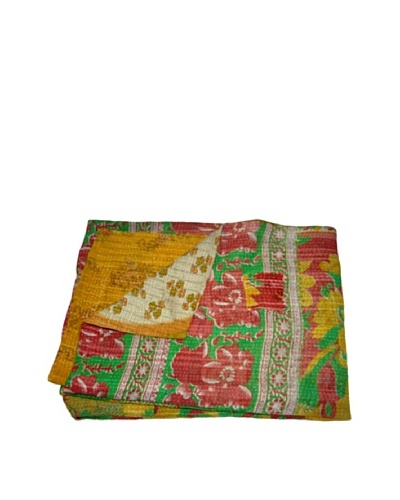 Large Vintage Kantha Throw Gowri, Multi, 60 x 90