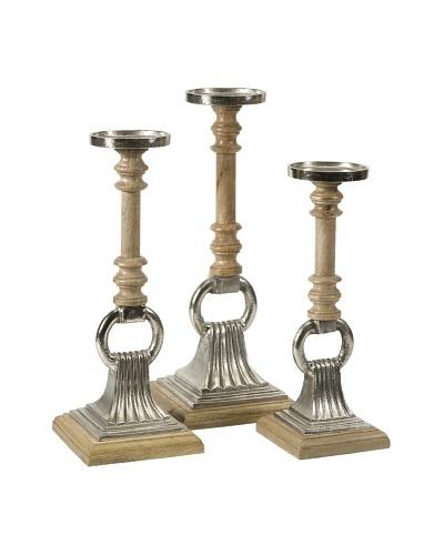 Zoie Aluminum & Wood Candleholders