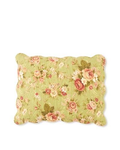 Erin's Rose Pillow Sham, Green, Standard