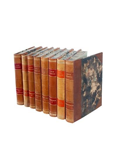 Set of 8 Designer Leather Books, Multi