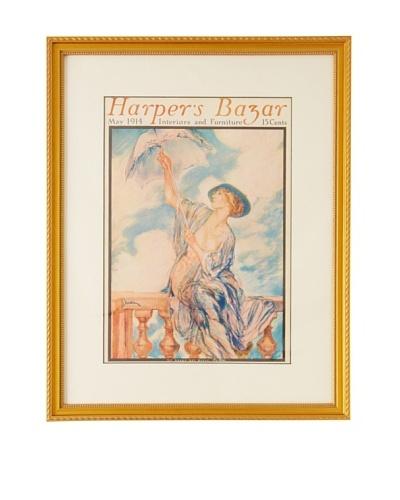 Original harper's Bazaar cover dated 1914. by Drian. 16X20 framed