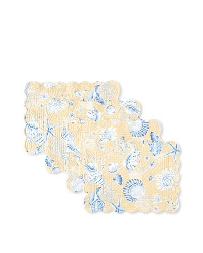 Set of 4 Seashells Placemats, Tan/Blue