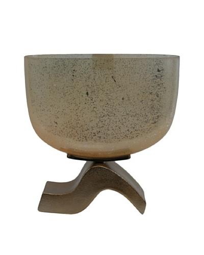Ira Vase, Rustic White/Bronze