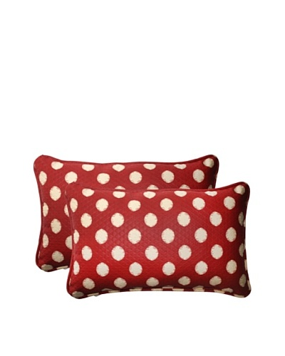 Outdoor Solar Spot Henna Rectangle Corded Toss Pillows [Red/Tan]