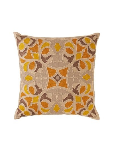 Oujda Embroidered Throw Pillow, Natural/Yellow, 20 x 20