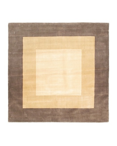 Hand Made Abstract Art Rug, Cream, 6' 7 Square