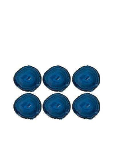 6pk Brazilian Agate Crystal Coaster Set, Blue