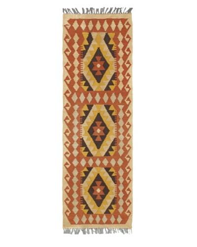 Hand Woven Anatolian Wool Kilim, Copper, 1' 11 x 5' 10 Runner