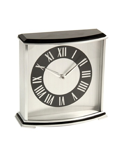 Square Desk Clock, Black/Silver